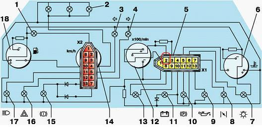 Панель приборов 2110-2115, схема